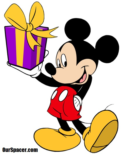 mickey mouse is bringing a present myspace, friendster, facebook, and hi5 comment graphics