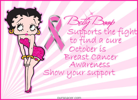 betty boop supports the fight to find a cure myspace, friendster, facebook, and hi5 comment graphics