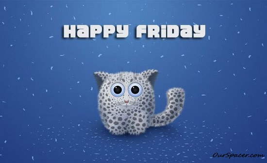 Cute kitten Happy Friday graphics