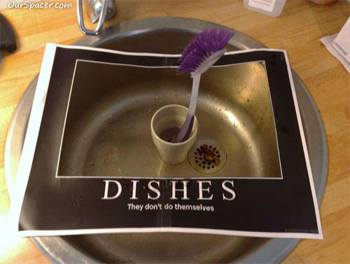 Dishes, they don't do themselves myspace, friendster, facebook, and hi5 comment graphics