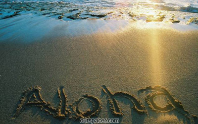 aloha written on the sand in a beach myspace, friendster, facebook, and hi5 comment graphics