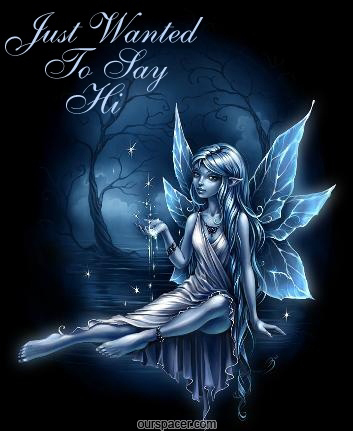 cute graphic fairy angel just wanted to say hi myspace, friendster, facebook, and hi5 comment graphics