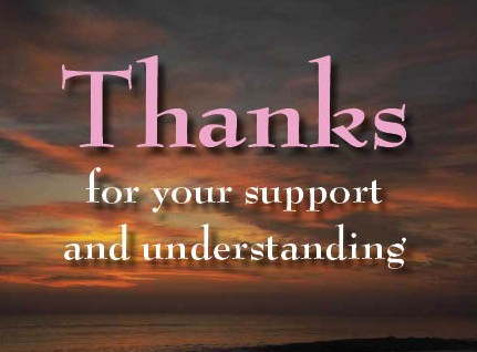 thanks for your support and understanding myspace, friendster, facebook, and hi5 comment graphics